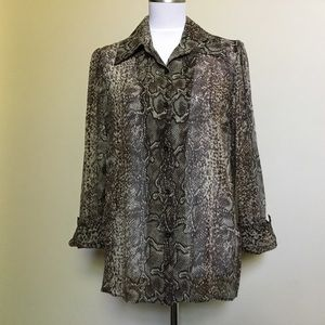 ALICE + OLIVIA brown snakeskin python Silk Shirt M